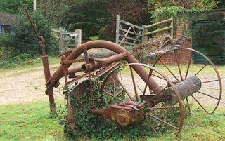 Red farm machinery
