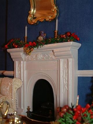 Red christmas fireplace
